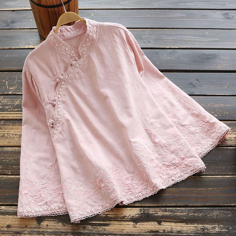7384 New Style Spring WOMEN'S Dress Cotton Linen Embroidered Chinese Style Tops Ethnic-Style Long Sleeve Stand Collar Pullover S