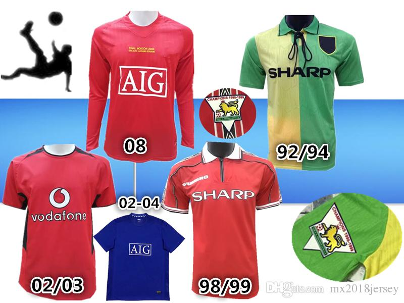 69329f376 2019 TOP 02 04old Shirts Classical Jersey 92 94 Away Green 98 99home Red  BECKHAM CANTONA Retro Jersey 08 Scholes G.Neville ANDY COLE HOME Jerseys  From ...