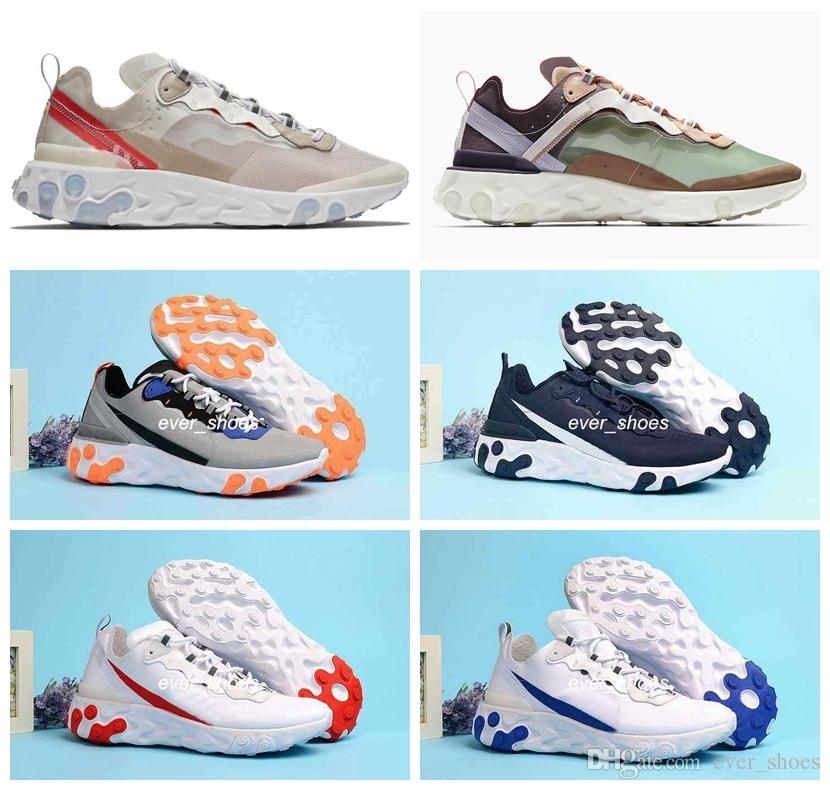 94eb443658 New UNDERCOVER Upcoming React Element 87 55 Pack White Sneakers Brand Men  Women Trainer Men Designer Running Shoes Zapatos Chaussures Kids Running  Shoes ...