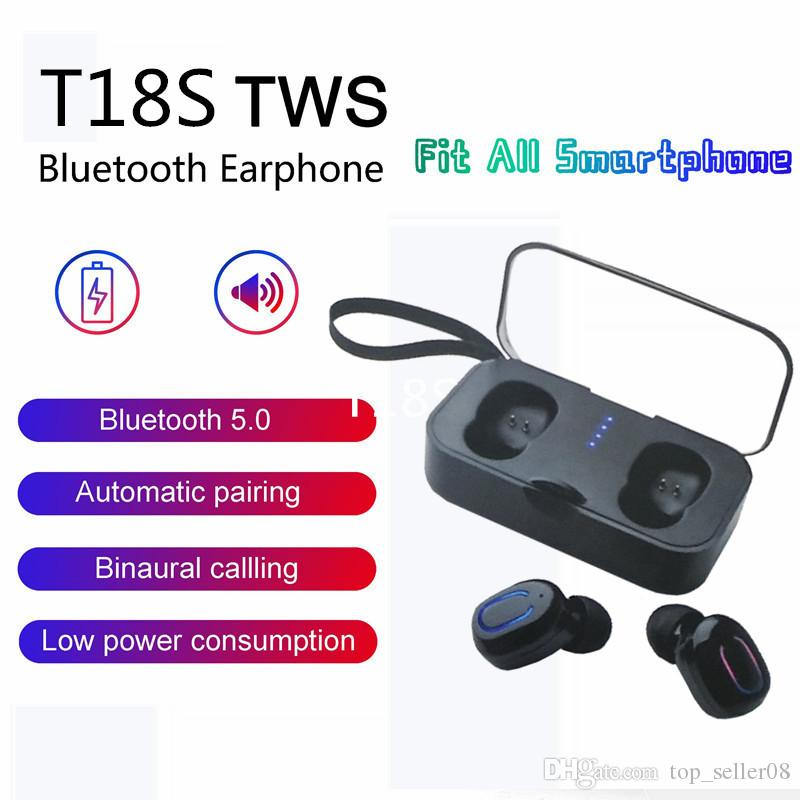 Earbuds Wireless 5.0 Sports Earphones T18s Tws Base Wireless Headphone Earbuds for small ears with Charging Case