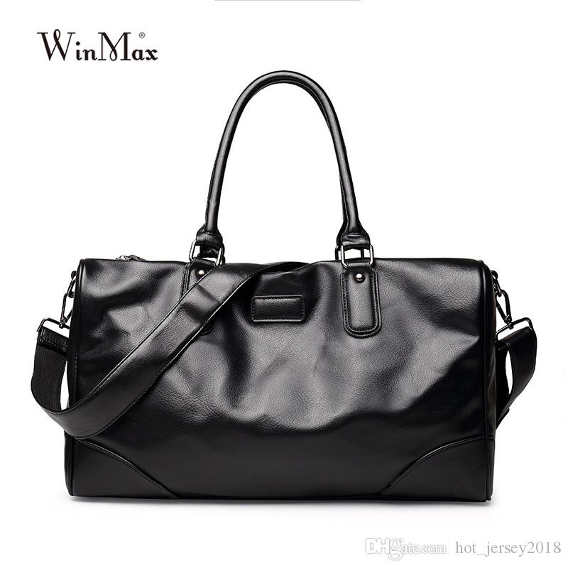 01683e86eae9 Winmax Sports Gym Bag Men Soft PU Leather Large Capacity Fitness Travel  Duffle Totes Top Handle Luggage Handbags Shoulder Bags #235182