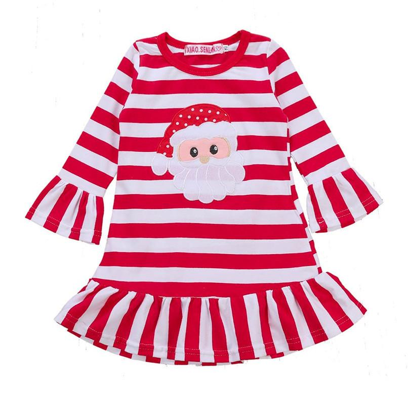 925da35c692 2019 Long Sleeve Girl Dress Girls Clothes Infant Kids Baby Girls Striped  Princess Dress Christmas Clothes Girls Party Dress AU22 FN From Westbit11