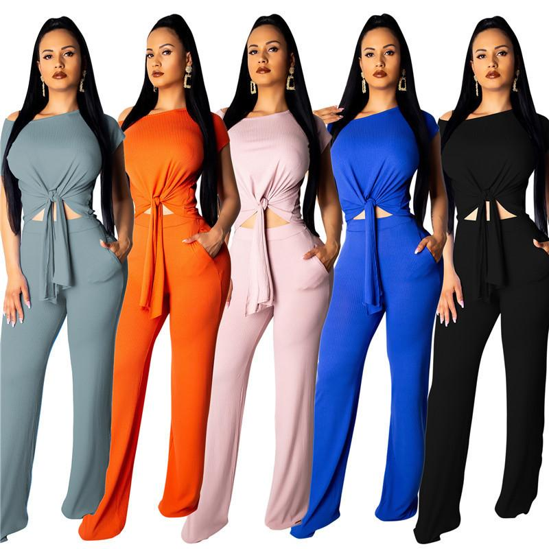 Striped Women Tracksuit Short Sleeve T-shirt Crop Top + Wide Leg Pants Trousers 2 Piece Set Off Shoulder Knot T Shirt Outfit Suit Clothing