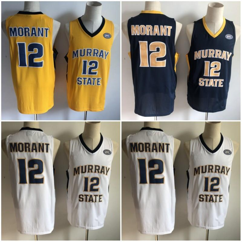 new style 93882 218a0 NCAA Murray State Racers 2019 Ja Morant Jersey Temetrius Jamel College  Basketball Wears University Shirt OVC Ohio Valley White Blue Yellow