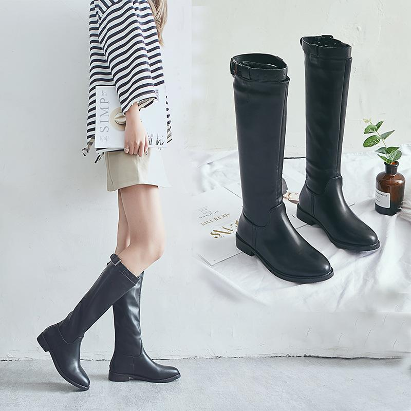 b22b306e1de Women Boots Thick Bottom Martin Shoes Female European And American Style  Thick With Belt Buckle High Boots Flat Cheap Football Boots Army Boots From  ...
