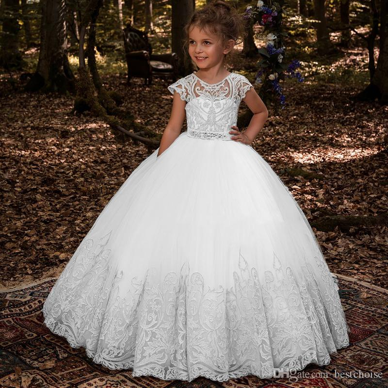 2019 New Flower Girl Dresses Beading Sash Ball Gowns Lace Appliques Floor Length Flower Girls Princess Elegant Wedding Pageant Dresse