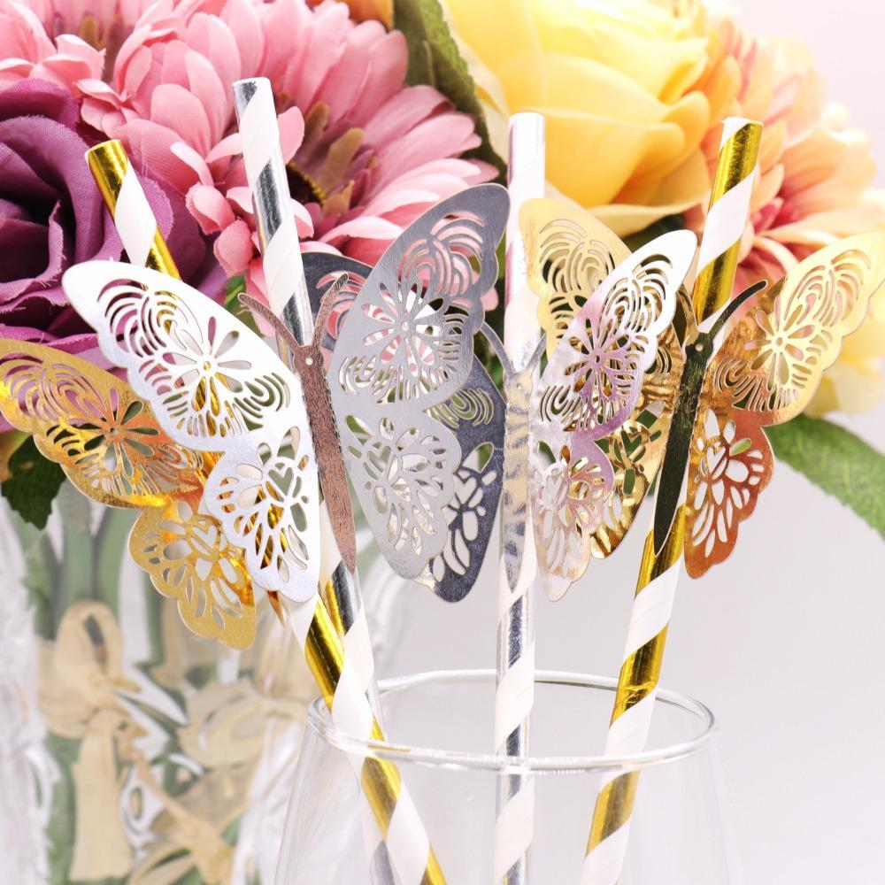 الذهب الفضة مخطط سترو و3D PVC فراشة لحضور حفل زفاف رومانسية شريط الديكور حزب DIY عيد ميلاد الحزب الديكور