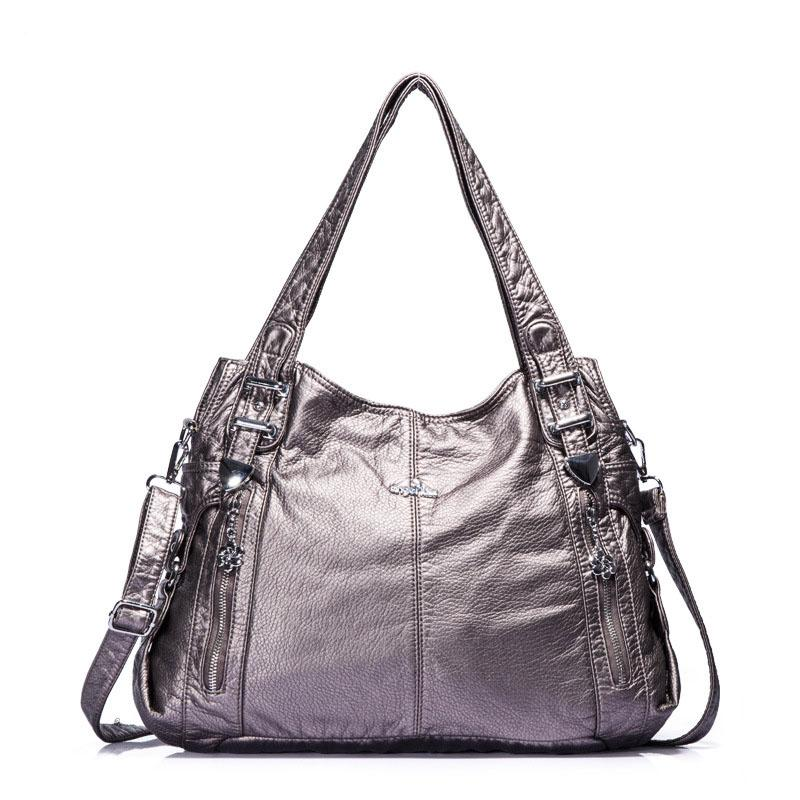 d28a27b188 Brand Fashion Casual Women Shoulder Bags Silver Gold Black Handbag PU  Leather Female Big Tote Bag Ladies Hand Bags Sac Leather Bags Designer  Purses From ...