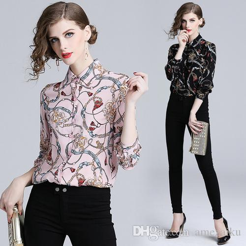 2f24316dff47f 2019 Runway Chain Print Blouse 2018 Slong Sleeve Women S OL Casual Shirt  Flower Striped Tops Female Beach Party Blusas From Amezaiku