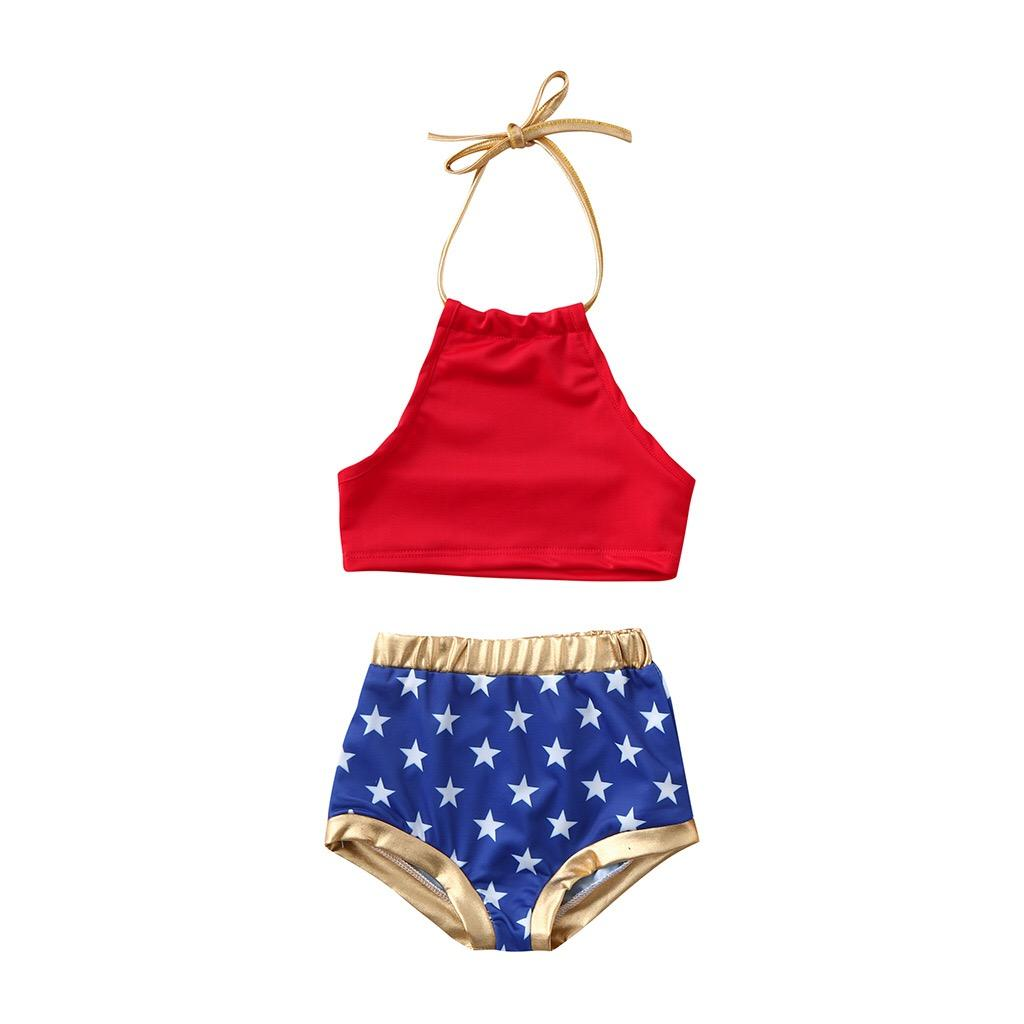 2019 Girls Swimwear Newest Two-piece Girls Swimming Clothing Suits Sleeveless Belt Tops Star Blue Shorts Girls Swimming 2pcs Bikini Outfits