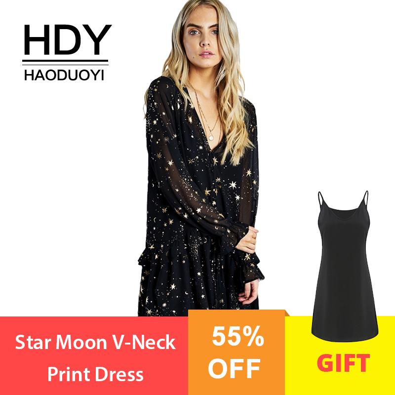 3fea2ff592ed2 HDY wholesale Star Moon V-Neck Print Dress Spring Black Long butterfly  Sleeve Elegant Party Dresses Suit Two