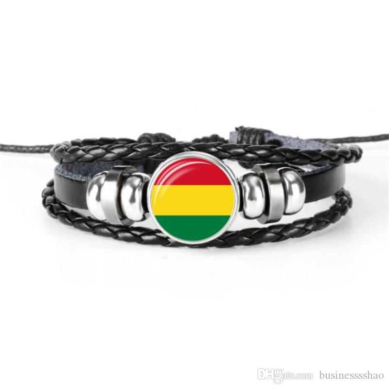 New Europe Genuine Leather Rope Beaded Bracelet for Women Men Glass Cabochon Bolivia National Flag World Cup Football Fan Charm Jewelry Gift