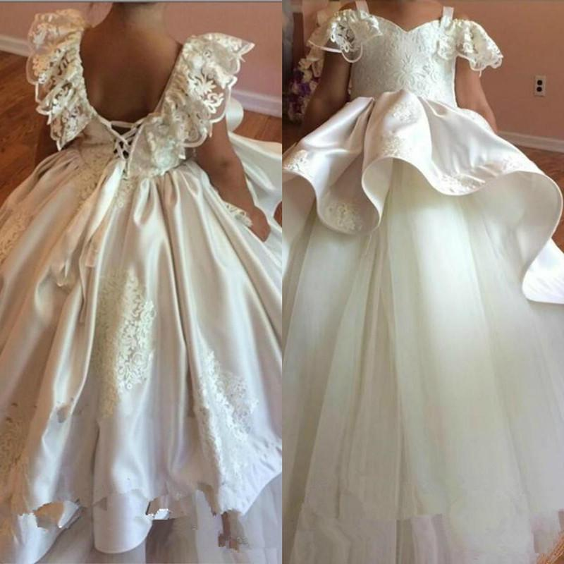 Cute 2020 Lace Flower Girls' Dresses for Weddings Square Neck Appliques Lace Puffy Pageant Party Gowns Birthday Dress