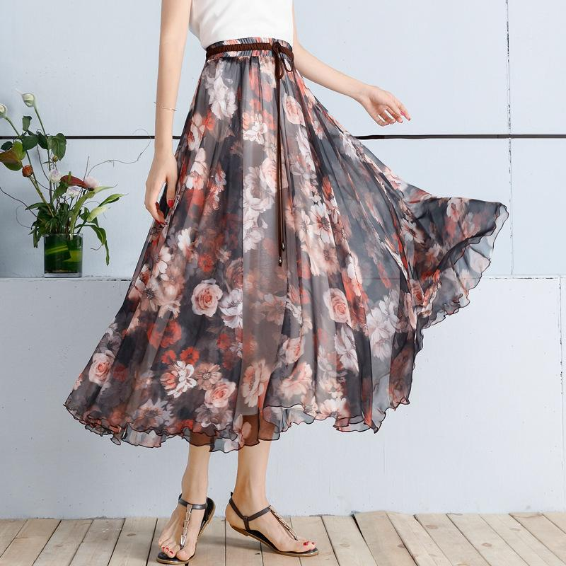 ec33cf984fb Elegant Summer 2019 Women Long Skirt Chiffon Saia Beach Bohemian ...