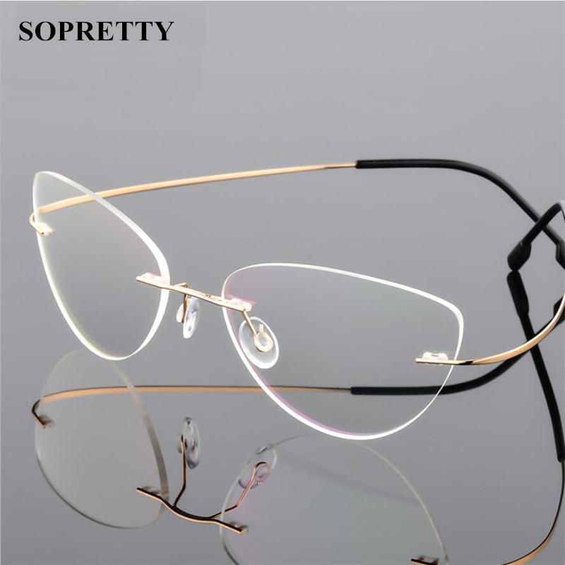 990b2071660 Rimless Glasses Frame Titanium Alloy Ultralight Eyeglasses Frameless ...