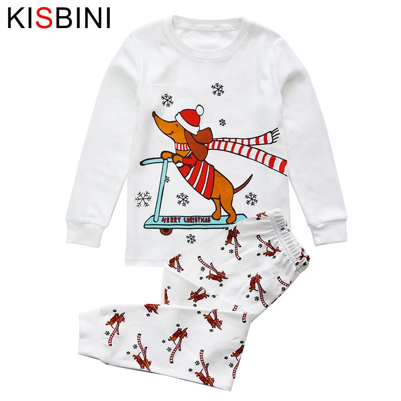 good quality 2019 Christmas Underwear Boys Girls Pajamas Sets Long Sleeve Dog T-Shirts Pants Kids thermal underwear Children Clothes