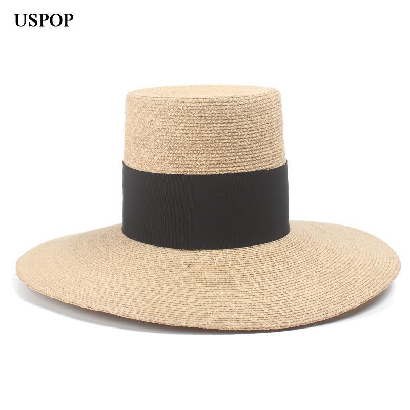 Compre USPOP 2019 Nuevo Sombrero De Rafia Natural Alto Superior Ancho Ala  Sombrero De Paja Moda Mujer Ancho Negro Playa De Playa Sol De Verano A   33.38 Del ... 4eaca2f9dfe2