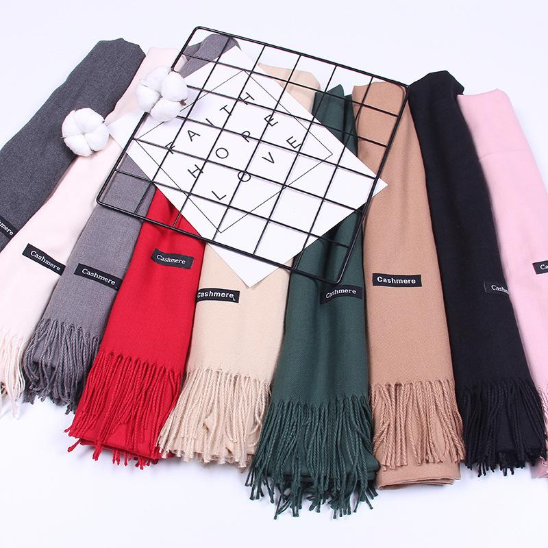 6e5683f558f Spring Winter Scarves For Women Shawls Lady Pashmina Solid Color Cashmere  Women Long Warm Tassel Scarf Multicolor Baby Shower Candle Favors Baby  Shower ...