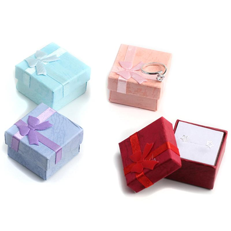 4 Pcs High Quality Paper Jewelry Packaging Organizer Box Rings Storage Box Small Gift Boxes For Rings Earrings 4 Colors