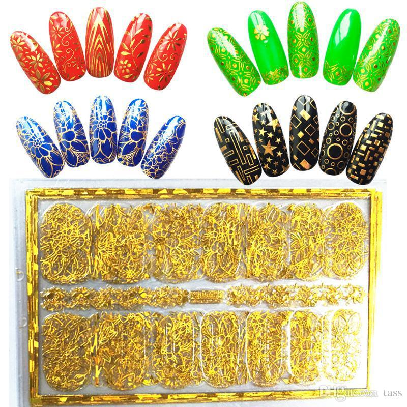 Gold Silver 3D Nail Art Stickers Nail Decoration Design Brand Foils ...