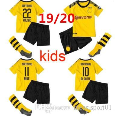 a9caf3e8c6d 2019 Borussia Dortmund KIDS Soccer Jersey 2019 2020 BVB MAILLOT DE FOOalit  REUS PULISIC 2019 20 Dortmund Football Shirts KIDS Kit With Socks From ...