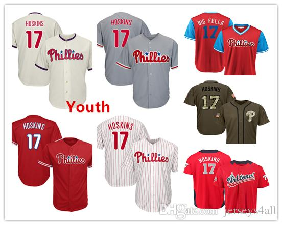 sale retailer 35d47 52d56 Youth Kids Child Phillies Baseball Jerseys 17 Rhys Hoskins Jersey Light  Blue White Red Grey Gray Cream Green Salute