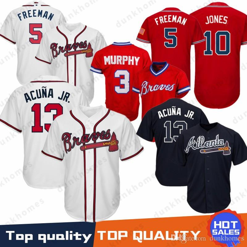 4a19f3f20 13 Ronald Acuna Jr. Atlanta Braves 10 Chipper Jones 44 Hank Aaron 5 Freddie  Freeman 3 Dale Murphy Baseball Jersey Top Quality 100% Stitched UK 2019  From ...