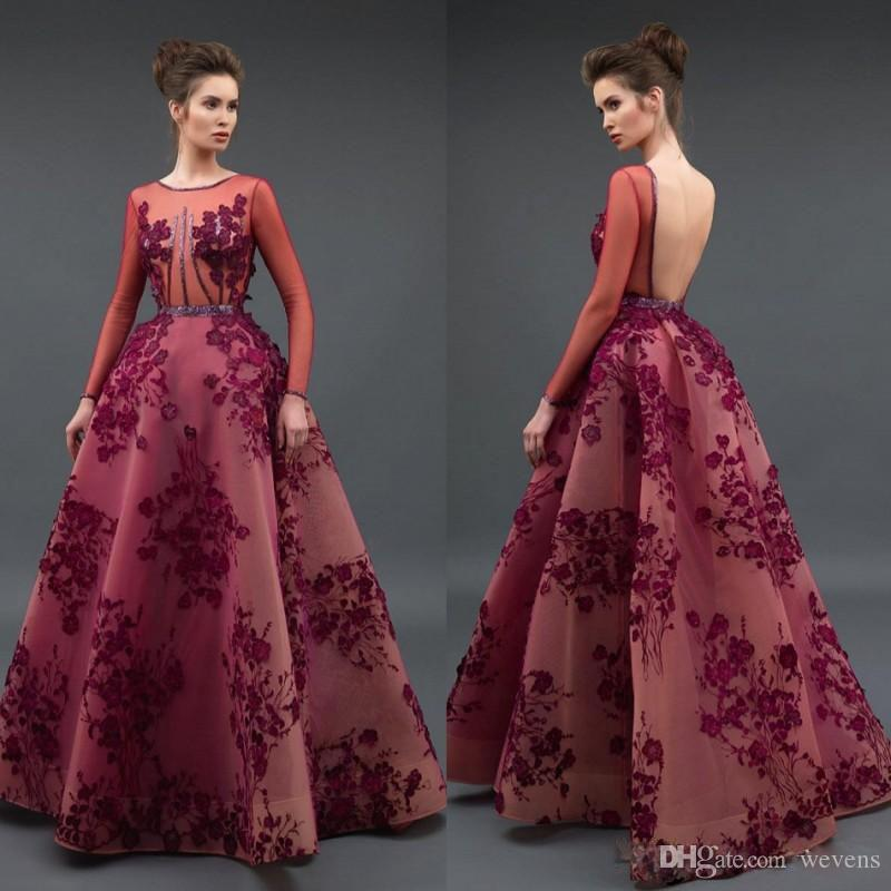 Glamorous A Line Zuhair Murad Evening Dresses Long Sleeve Backless Beading Organza Red Carpet Celebrity Dress Puffy Skirt Prom Gowns