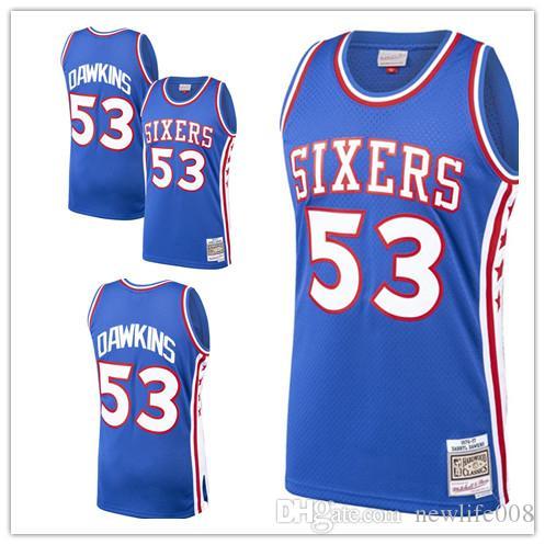 on sale 611a8 01709 custom 2019 Men's 76ers 53 Darryl Dawkins Mitchell & Ness Royal Classics  Swingman Philadelphia women kids Jersey