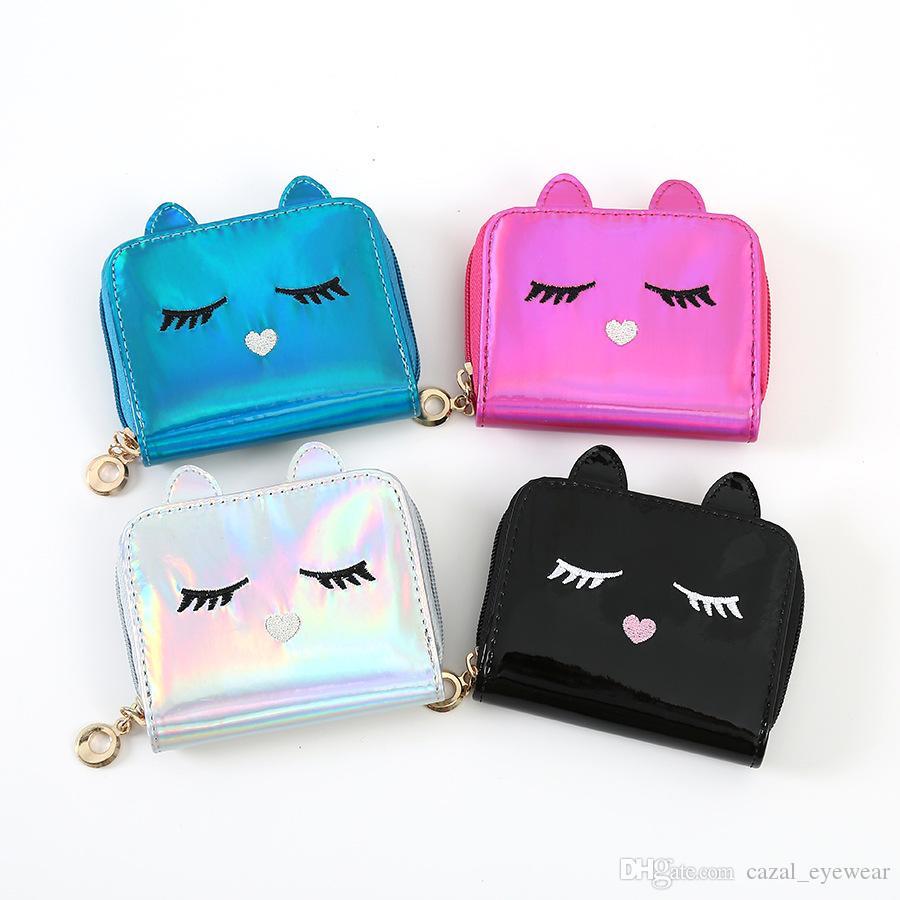 25pcs / DHL Fashion PU Leather Laser Hologram Hologram Carino Portafogli per le donne Girls Coin Borses Cartoon Cat Face Mini supporti 4 colori