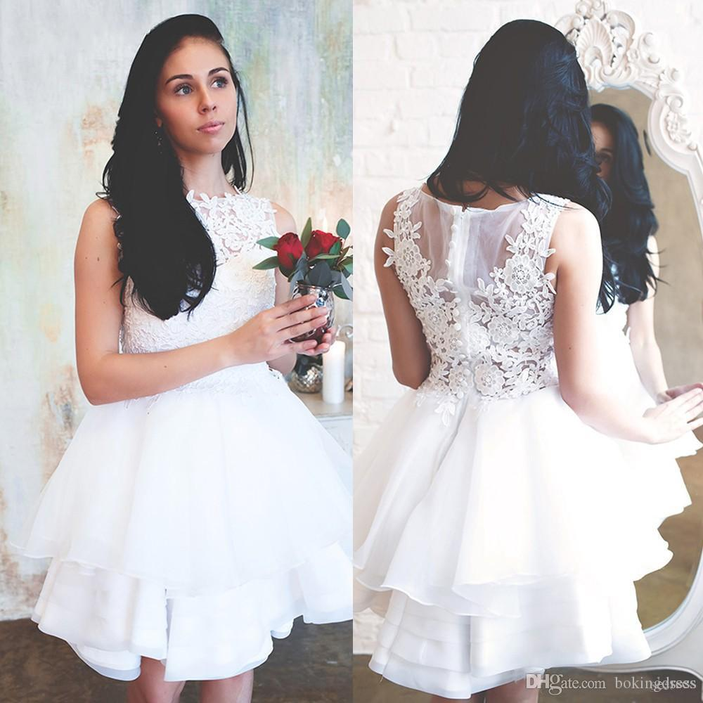 772efe0cd 2019 Vestidos de novia de encaje blanco Joya Cuello Apliques de encaje  Verano Civil Hippie Vestidos de novia Hasta la rodilla Volantes Vestidos de  ...
