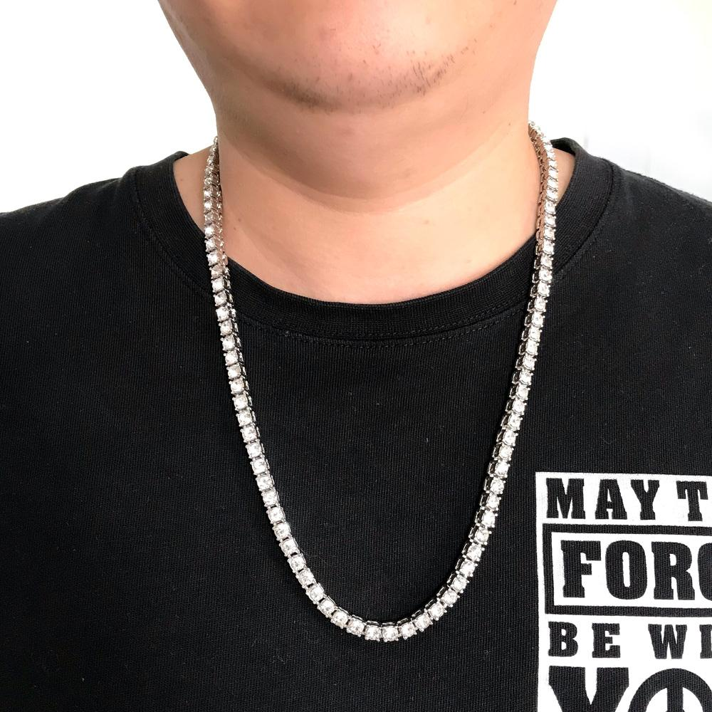 a0a253333e997 Hip Hop Gold Chain 1 Row bling Round Cut crystal Tennis Necklace Chain  24inch Mens Punk Iced Out Rhinestone chain Necklace