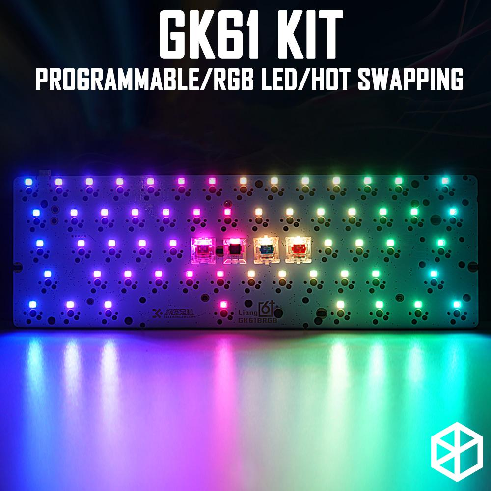 gk61 60% custom mechanical keyboard with rgb switch leds how swapping  socket powerful control software type c pcb plate case