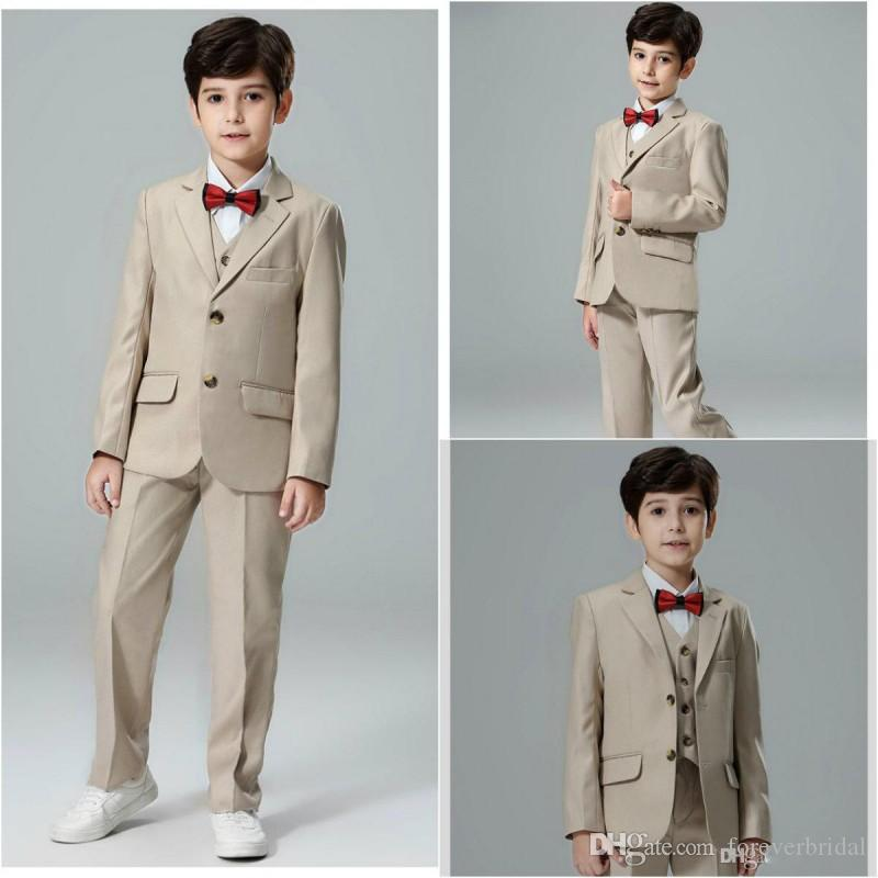 Handsome Boy's Formal Wear Notched Lapel 3 Pieces Kids Wedding Tuxedos Summer Boys Pants Suits(Jacket+Vest+Pants)