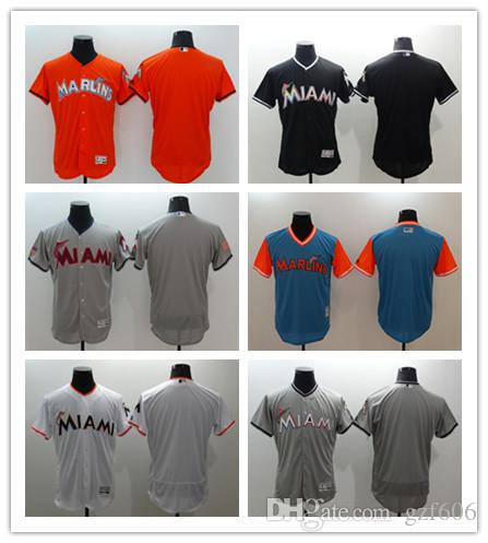 41434932 custom Men's women youth Majestic Miami Marlins Jersey Personalized Name  and Number Home Orange Grey White Kids Girls Baseball Jerseys