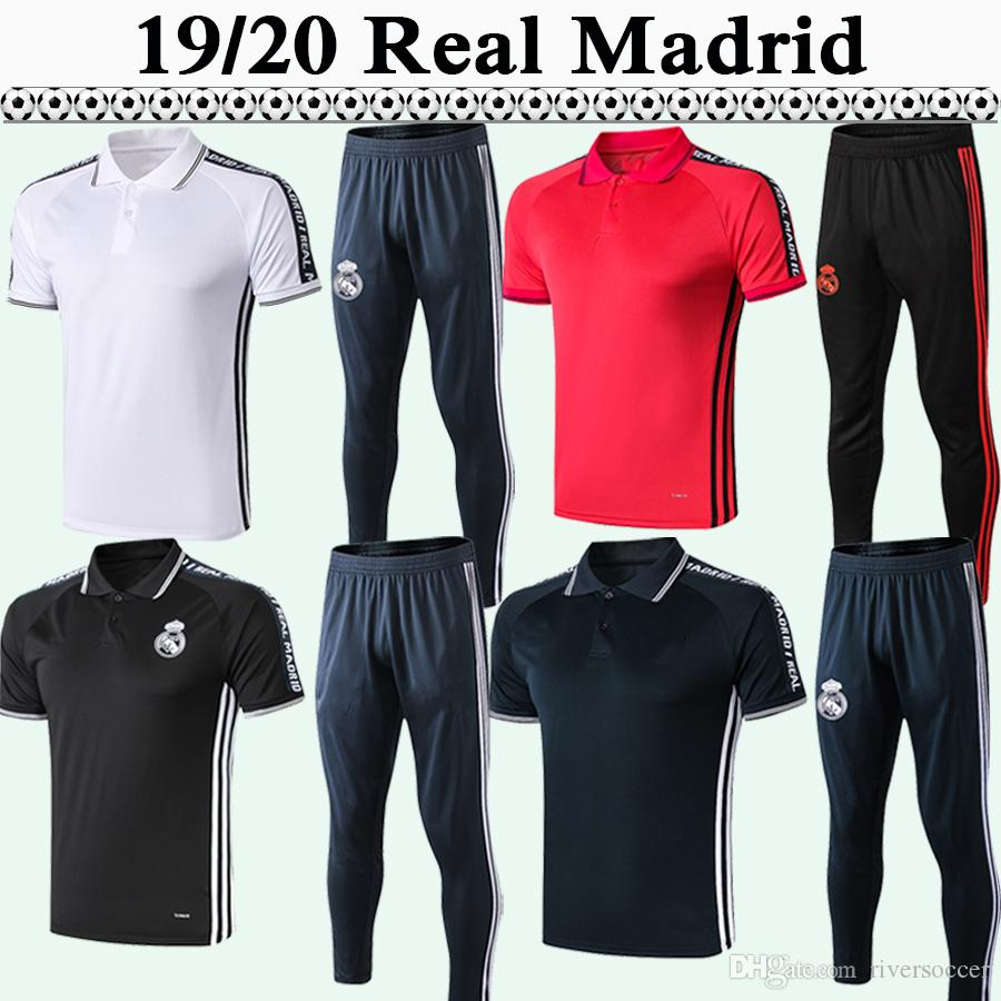 more photos 951f2 b336d 19 20 Real Madrid Polo Soccer Shirts Kit New Polo MARIANO BENZEMA MODRIC  MARCELO Red Black Gray White Suit Football Jerseys pants Top