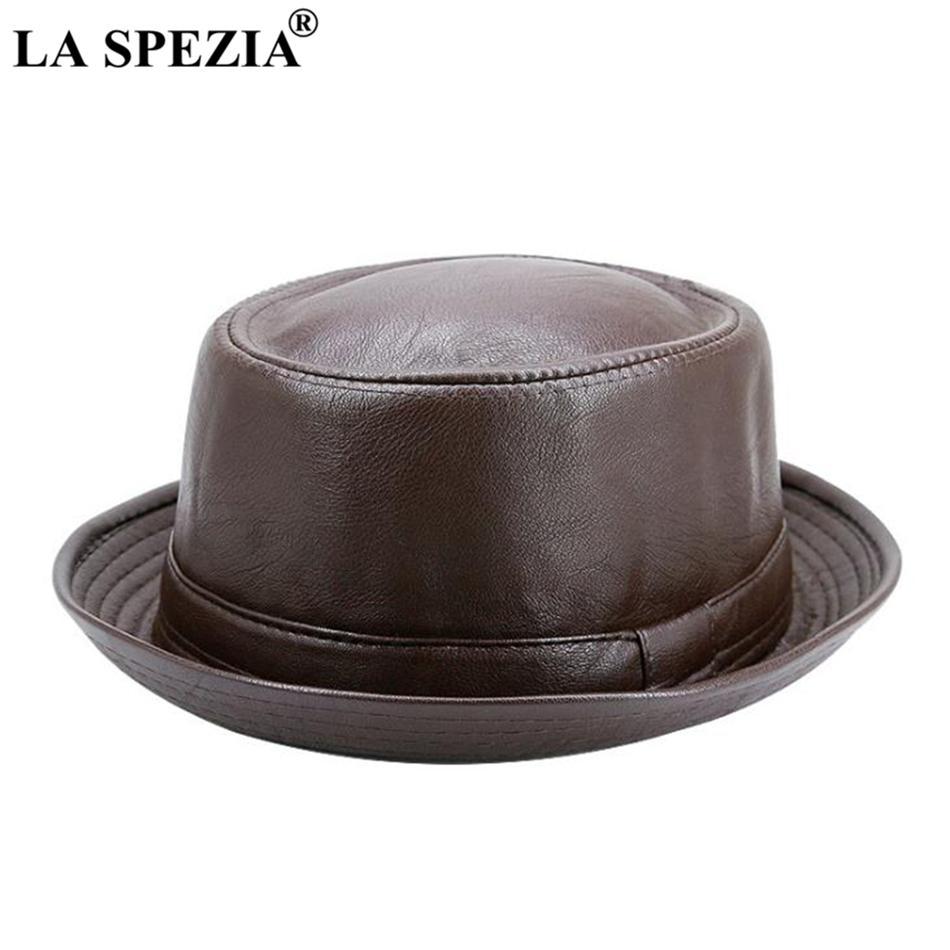 c286c133ab804 LA SPEZIA Men Fedora Cap Brown Women Casual Retro Jazz Hats Faux Leather  Vintage Trilby Hat Spring Autumn Classic Panama Cap D19011103 Trilby Hat  Top Hats ...