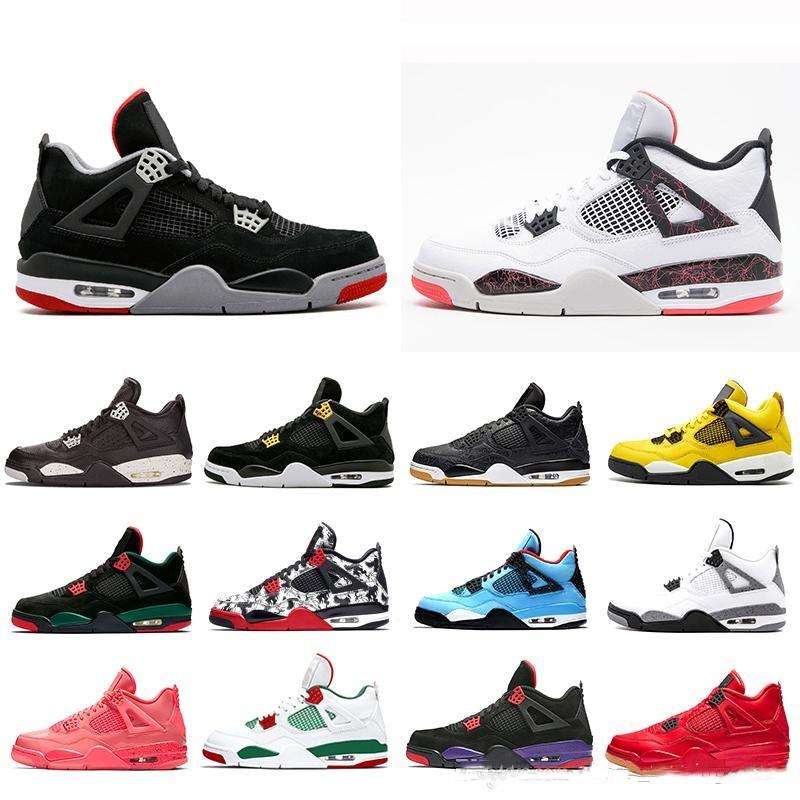 sports shoes 24fa6 9b27a Aair 1 JORDAN 1 4 Cactus Jack 4s Mens Raptors Basketball Shoes AJ4s White  Cement Black Red 4 Pale Citron Fashion Sneakers Sports