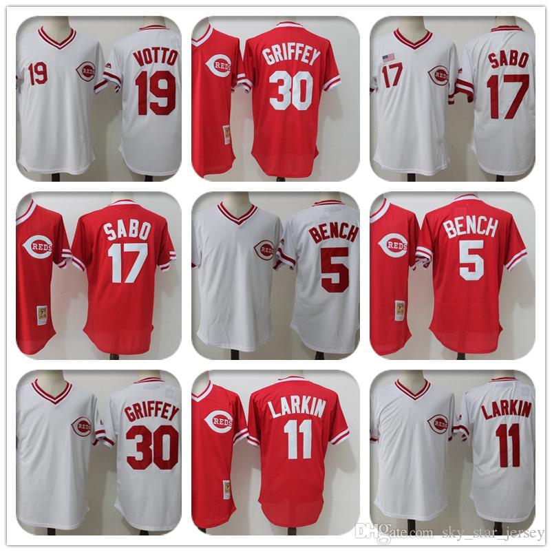 new concept 7051c 02056 wholesale Cincinnati jerseys Reds 5 Johnny Bench Jersey 11 Barry Larkin  Jersey 19 Joey Votto 14 Pete Rose 17 Chris Sabo