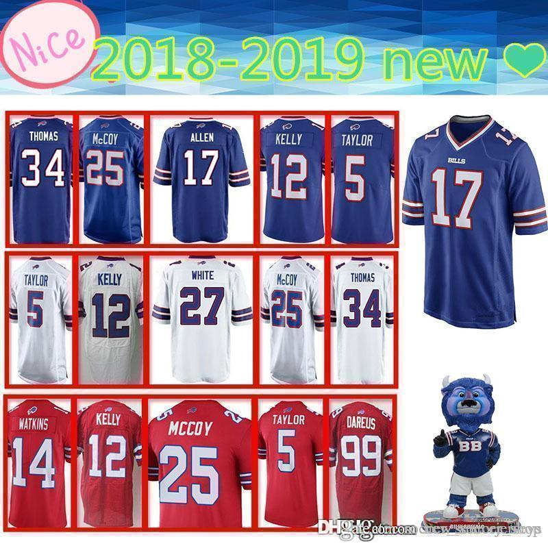 new arrival 16fe1 15eaa Buffalo 17 Allen Jersey Bills 49 Edmunds 12 Kelly 34 Thomas 25 McCoy top  2019 new Mens Adult Jerseys