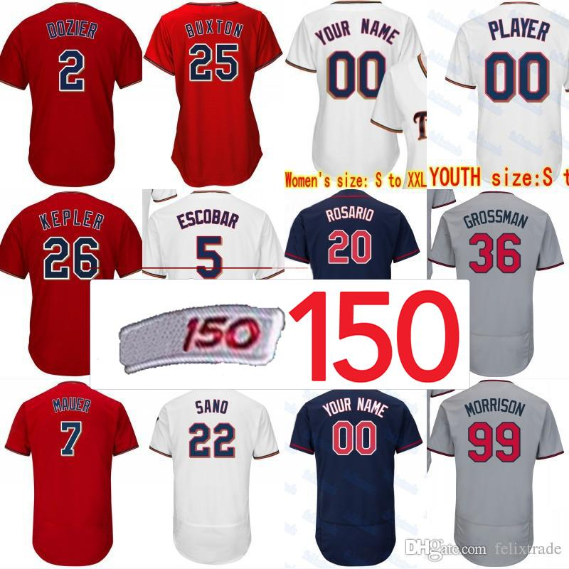 new products b3478 caf06 150th Anniversary Patch Minnesota Byron Buxton Max Kepler Byung-ho Park  Miguel Sano Ervin Santana Robbie Grossman Rosario Baseball Jersey