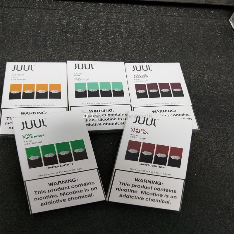 2020 NEW Juul Pods 8 flavors for myle device mango mint fruit Portable vape  pen 4 pods in one pack refillable pod cartridge