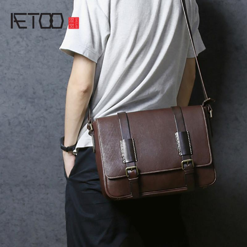 3c841c75b9a1 AETOO Retro Postman Bag Man Handmade Leather Head Layer Cowhide Crossbody  Bag Male Leather Business Casual Shoulder Handbags On Sale Shoulder Bags  From ...