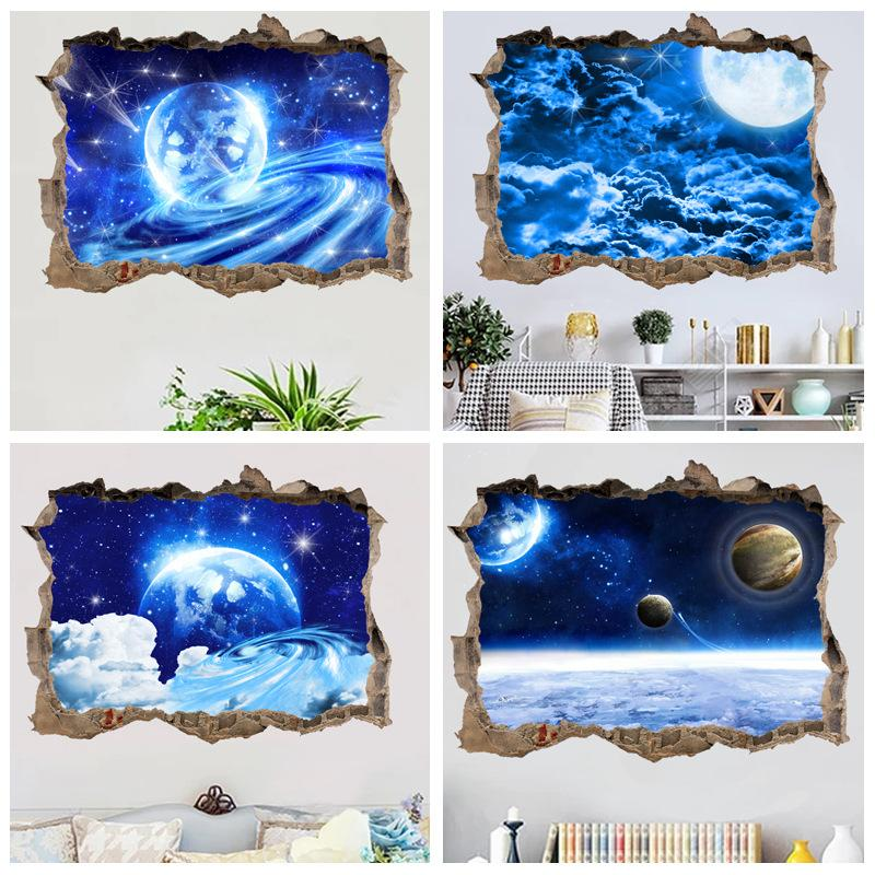 45*60cm window 3d wallpaper PVC universe planet blue starry background 3D broken wall fake window Home Decor wall stickers 4 styles