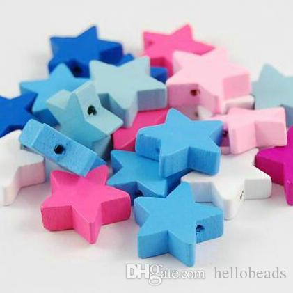50PCS 18MM SILVER GREY COLOURS STAR SHAPED WOODEN BEADS FOR JEWELLERY MAKING