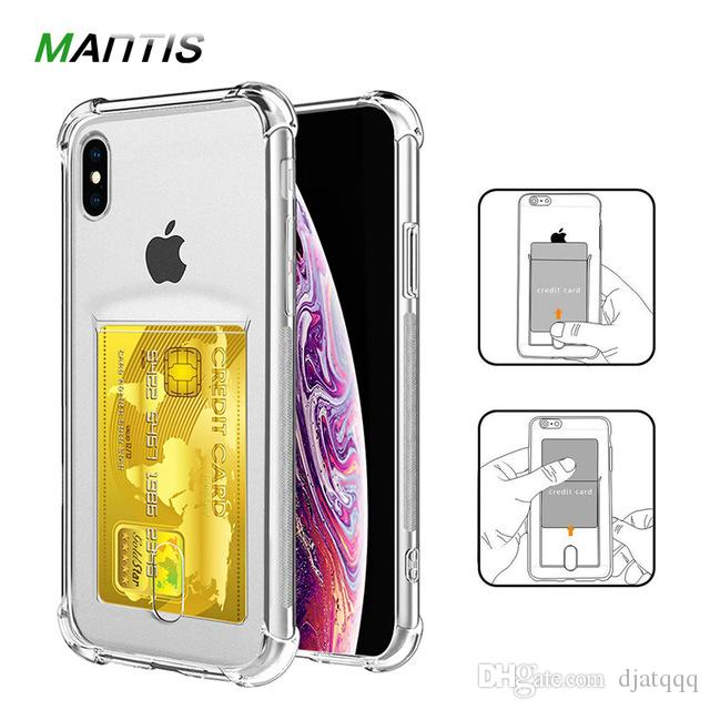 or iPhone X XS Max XR Credit Card Holder Transparent Shockproof Phone Case Soft TPU Cover for iPhone 6 6S 7 8 Plus