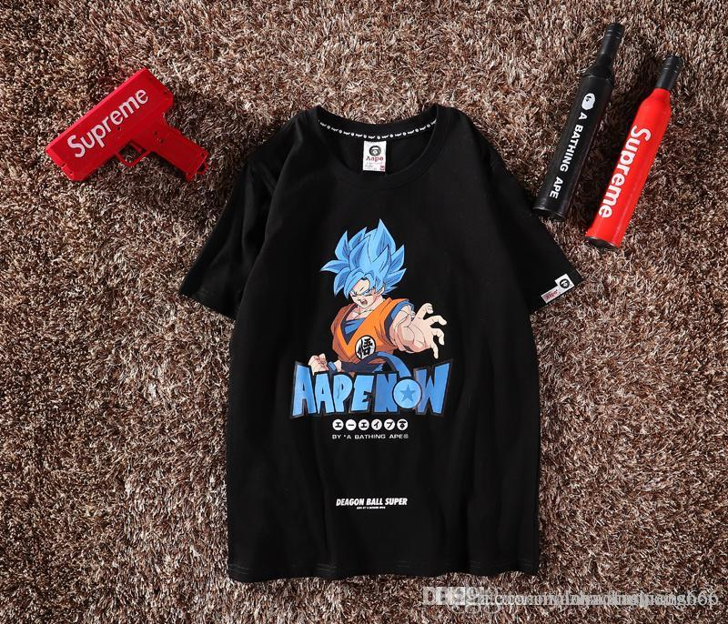 621, 2019 new summer short-sleeved, attacking Goku, couple short-sleeved, round neck T-shirt, letter print.