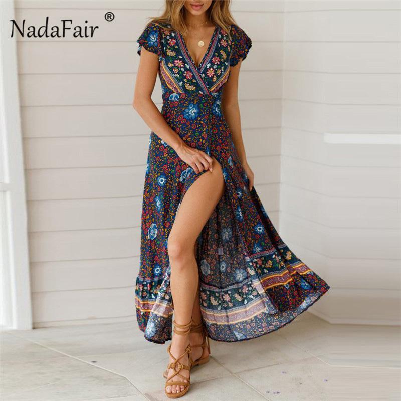 e2cf70ba1e68f Satın Al Nadafair Vintage Çiçekli Baskı Boho Elbise Kadınlar Seksi Maxi  Plaj Yaz Elbise Vestidos Kısa Kollu Kanat Bölünmüş Retro Uzun Elbise  Y190411, ...
