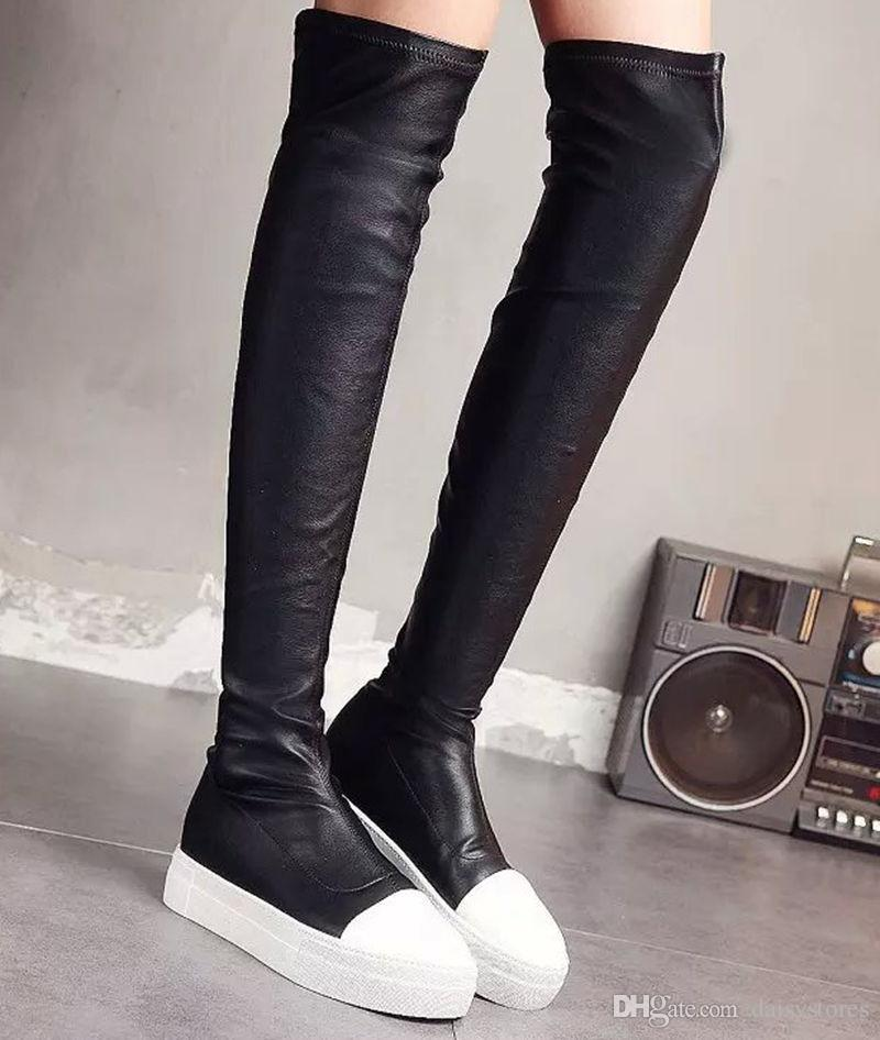 52460ee9926 Sexy Ladies Slim Legs Stretch Cow Leather Thigh High Boots Patchwork Flat  Thick Rubber Sole Slip On Over The Knee Runway Boots Chukka Boots Men  Slipper ...