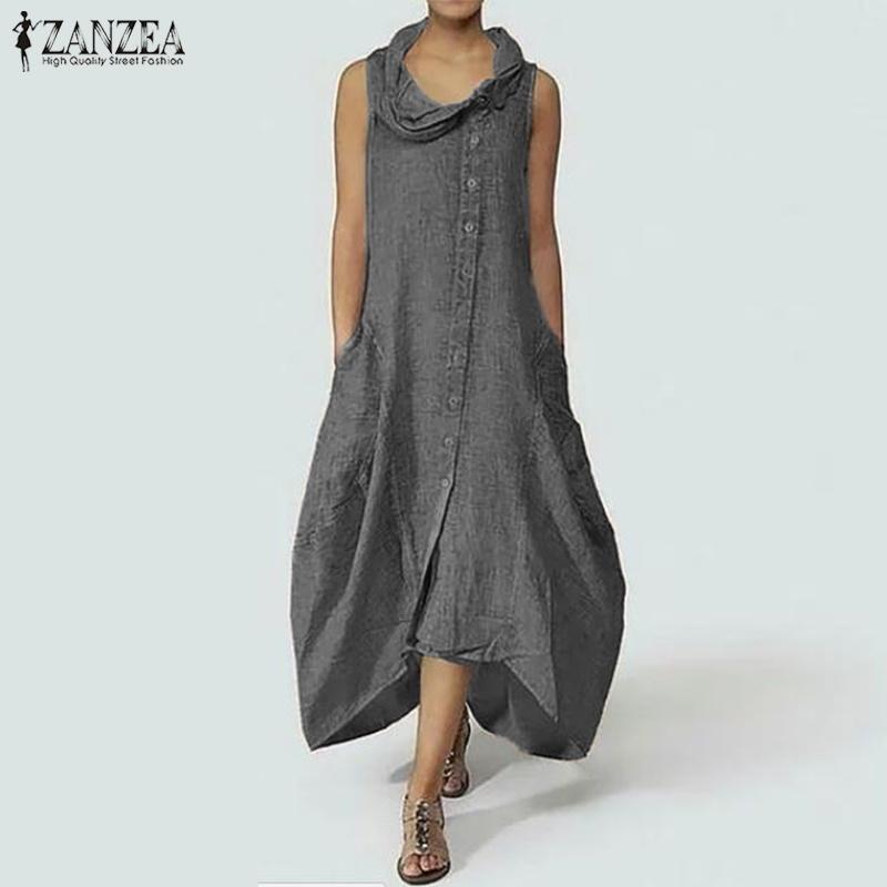 8042eff0ba Compre Zanzea Tallas Grandes Mujer Vestido Largo Maxi Elegante Cuello  Asimétrico Vestidos Sin Mangas Camisa Larga Vestido De Algodón De Lino Bata  Femme ...
